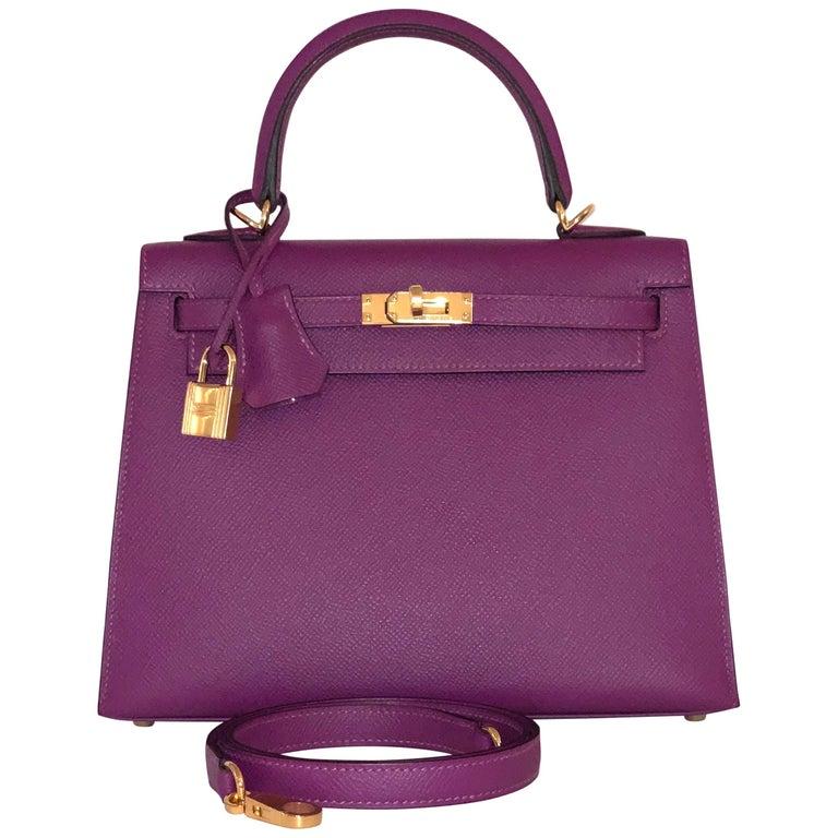 Hermes Anemone Kelly 25  Epsom Sellier Bag Gold Hardware For Sale