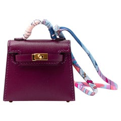 Hermes Anemone Swift/Chevre Leather Micro Kelly Charm GHW - Sold Out