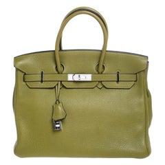 Hermes Anis Green Clemence Leather Palladium Hardware Birkin 35 Bag