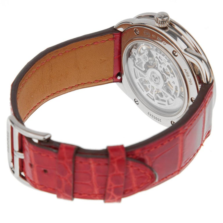 Hermes Anniversary Limited Edition Arceau White Gold Watch In Excellent Condition For Sale In Feasterville, PA
