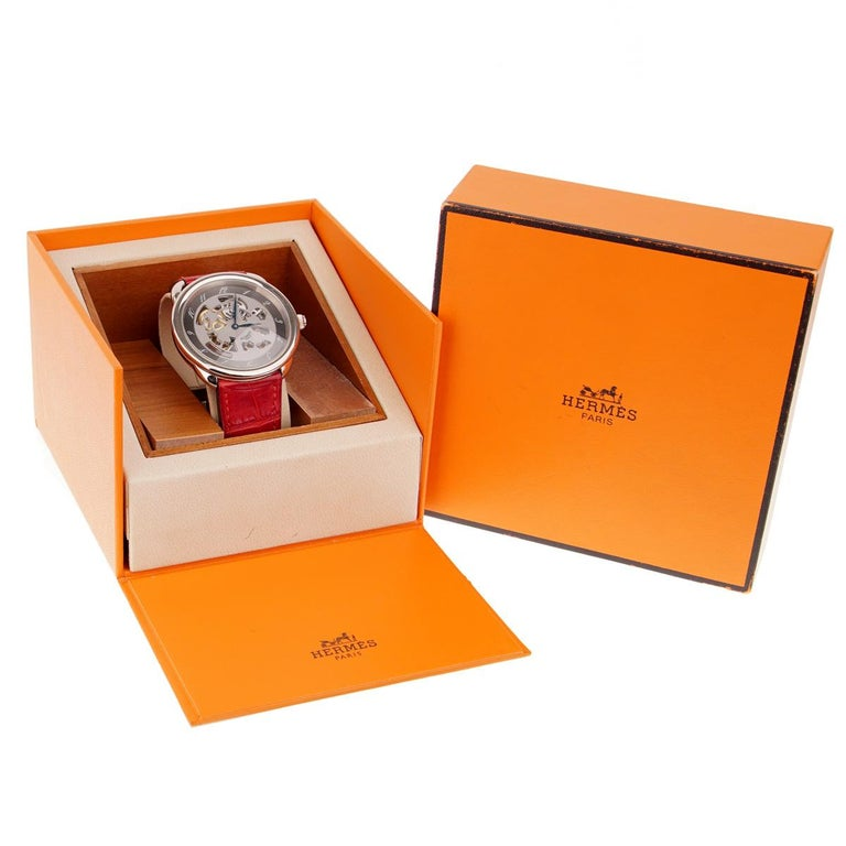 Hermes Anniversary Limited Edition Arceau White Gold Watch For Sale 5