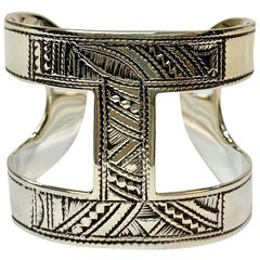 HERMES Ano Touareg Cuff Bracelet in Silver Ag925 Small Model