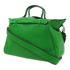 Hermes Apple Green Leather Men's Women's Travel Carryall Top Handle Satchel Tote