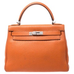 Hermes Apricot Clemence Leather Palladium Hardware Kelly Retourne 28 Bag