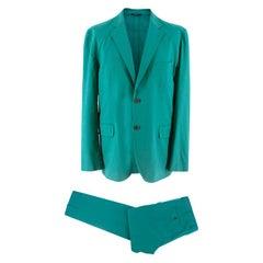 Hermes Aqua Linen Tailored Suit SIZE XL