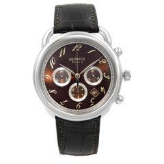 Hermes Arceau Chronograph Steel Brown Dial Automatic Men's Watch AR4.910