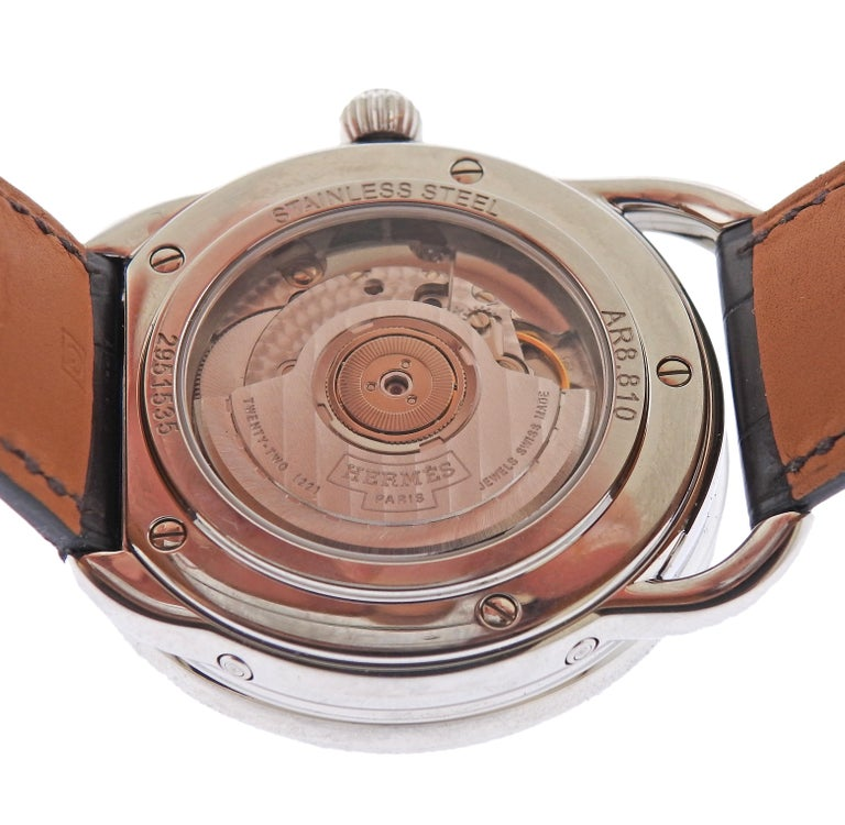 Hermes Arceau Moonphase Automatic Stainless Steel Watch AR8.810 In Excellent Condition In Boca Raton, FL