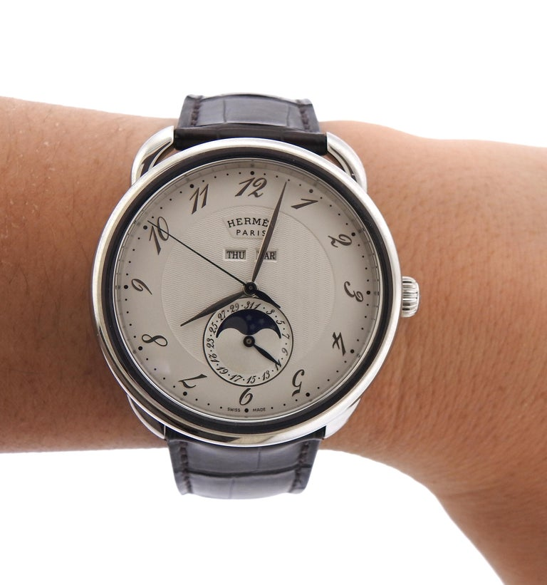 Hermes Arceau Moonphase Automatic Stainless Steel Watch AR8.810 1