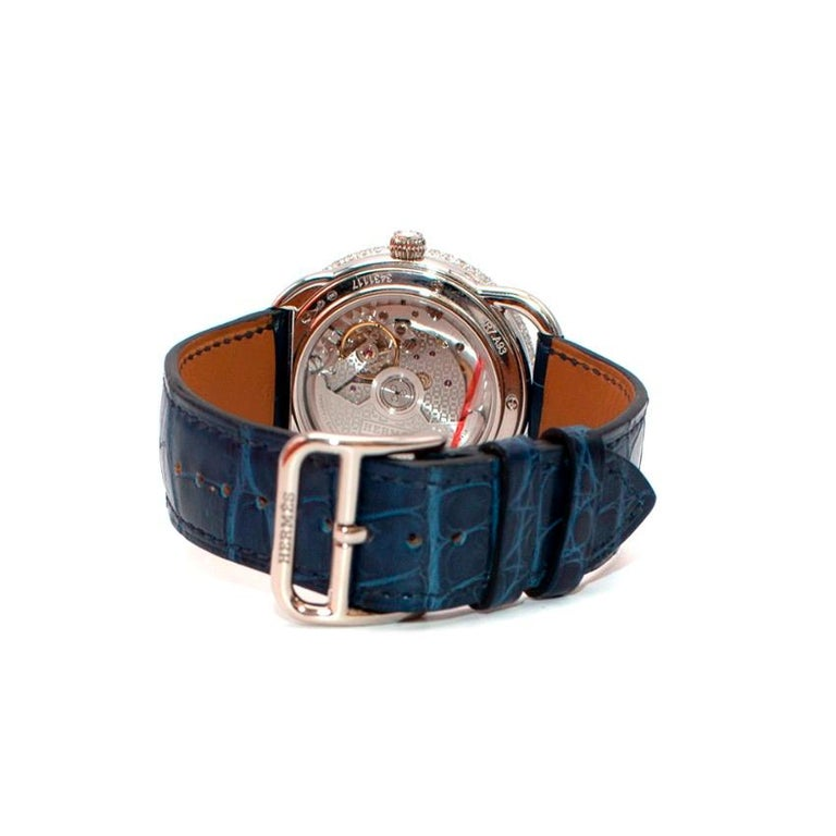 Rose Cut Hermés Arceau Petite Lune Watch with Sapphires and Diamonds For Sale