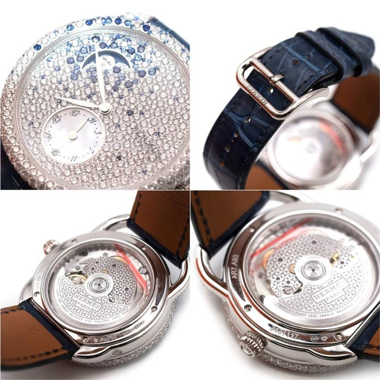 Women's or Men's Hermés Arceau Petite Lune Watch with Sapphires and Diamonds For Sale