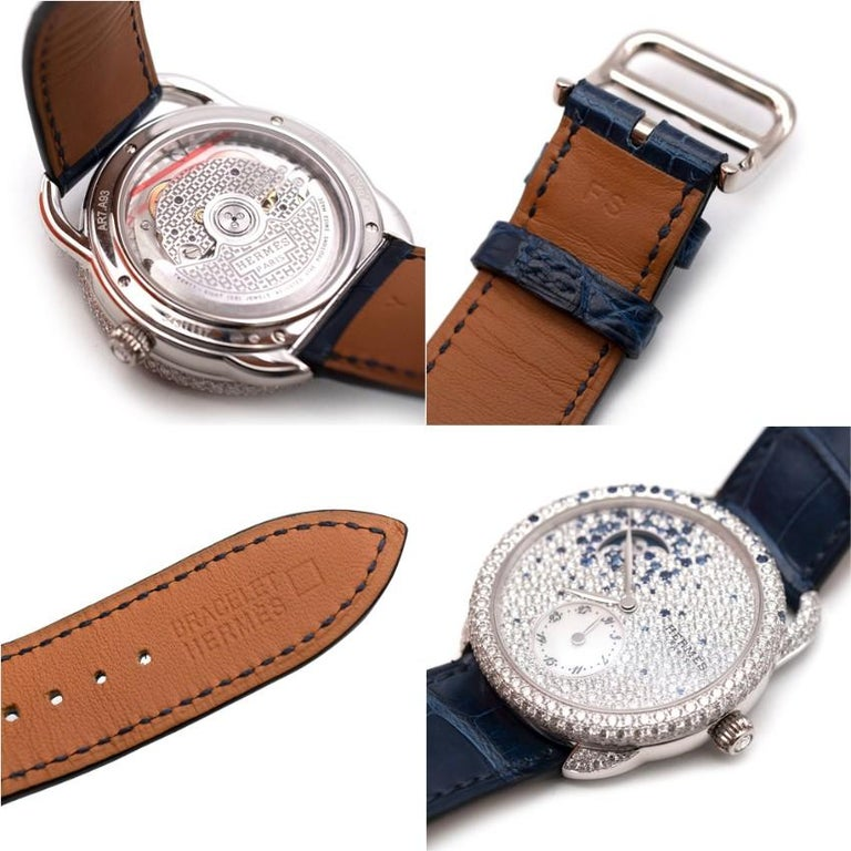 Hermés Arceau Petite Lune Watch with Sapphires and Diamonds For Sale 1