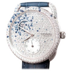 Hermés Arceau Petite Lune Watch with Sapphires and Diamonds