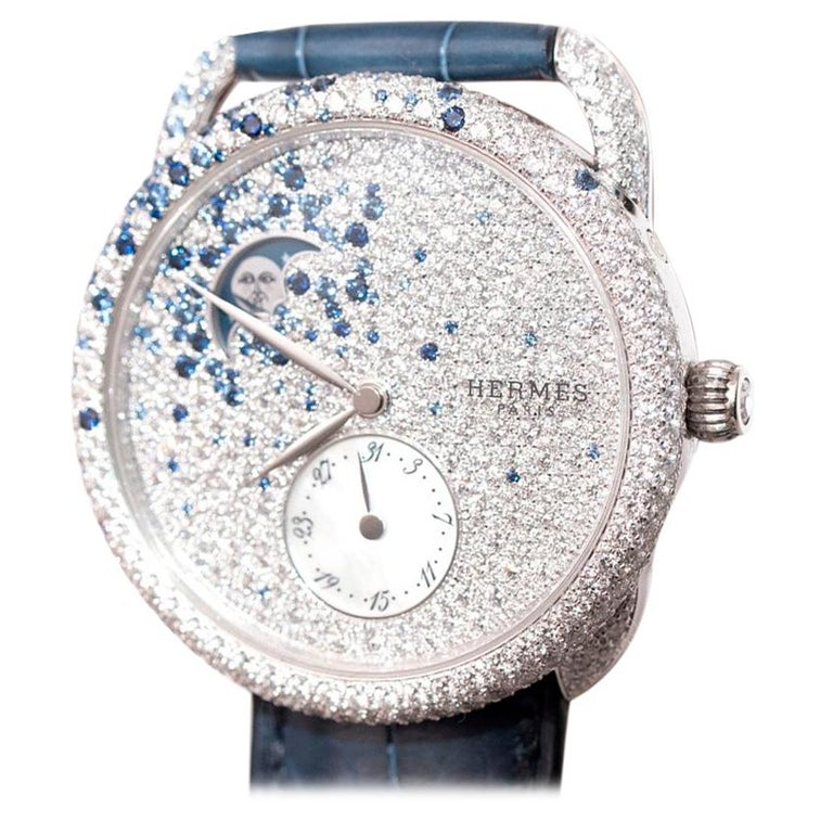 Hermés Arceau Petite Lune Watch with Sapphires and Diamonds For Sale