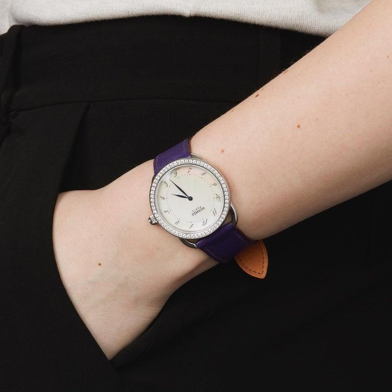 Hermes Arceau Stainless Steel AR5730 Wristwatch For Sale 3