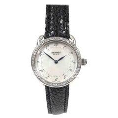 Hermes Arceau Steel Diamond and Pearl Dial Quartz Wristwatch
