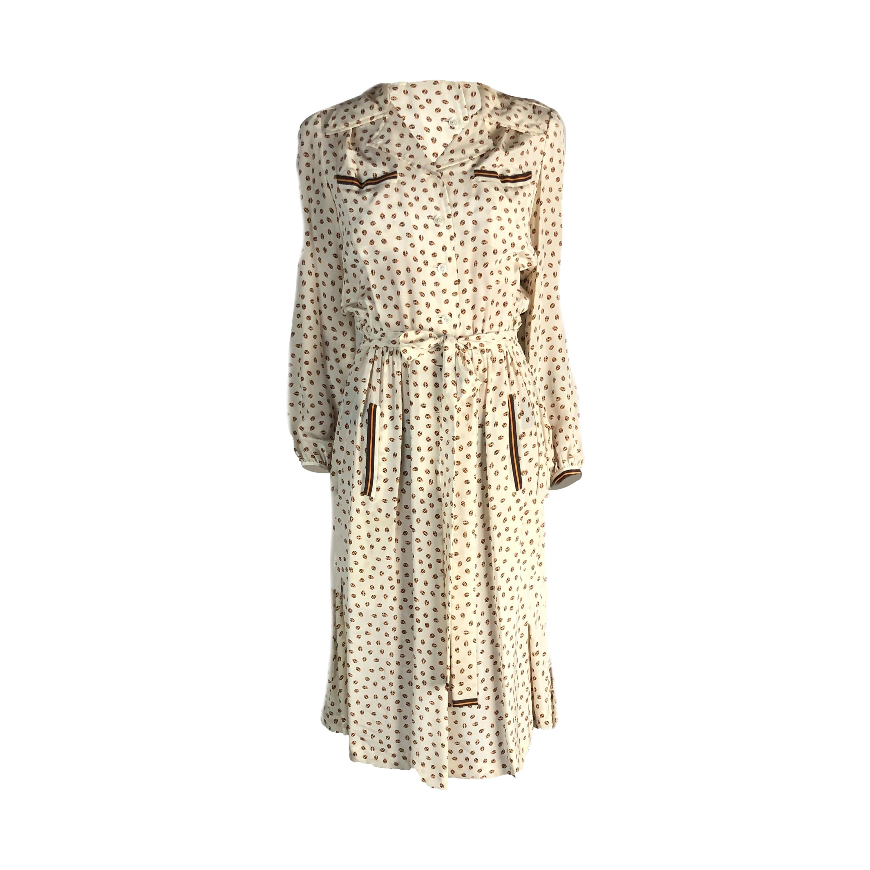 Hermès archival ladybirds print silk chiffon dress. Circa 1960s