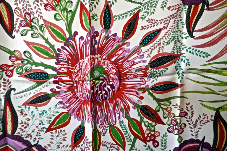 "HERMÈS Ardmore Artists design ""Flowers of South Africa"" 100% Silk Scarf, 2016   Authenticity Guaranteed made in France by Hermes and in stunning Vibrant Colour palette, offered here unused with all its tags, plump hand rolled edges the Hermes"