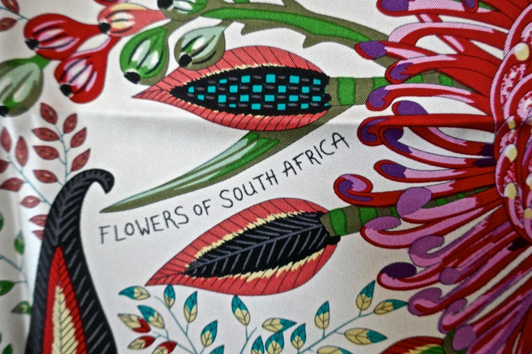 "Women's HERMÈS Ardmore Artists design ""Flowers of South Africa"" 100% Silk Scarf, 2016 For Sale"