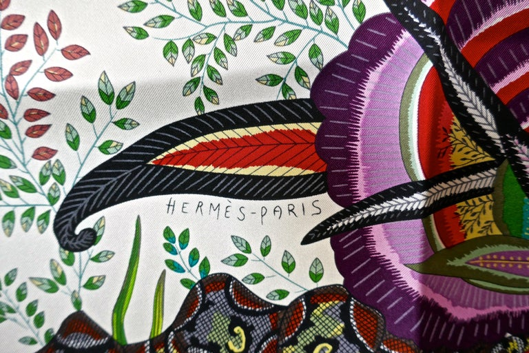 "HERMÈS Ardmore Artists design ""Flowers of South Africa"" 100% Silk Scarf, 2016 For Sale 1"