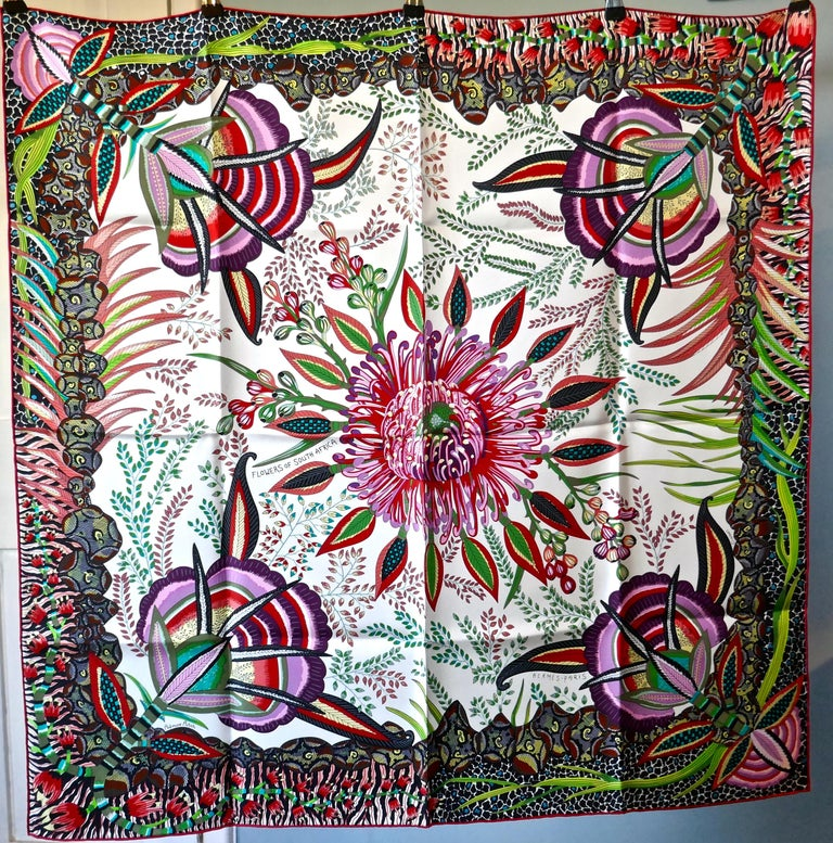 "HERMÈS Ardmore Artists design ""Flowers of South Africa"" 100% Silk Scarf, 2016 For Sale 3"