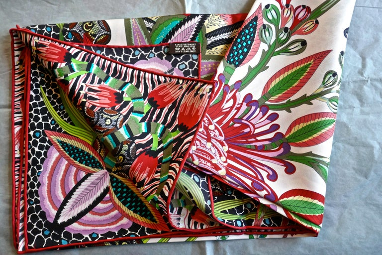 "HERMÈS Ardmore Artists design ""Flowers of South Africa"" 100% Silk Scarf, 2016 For Sale 4"
