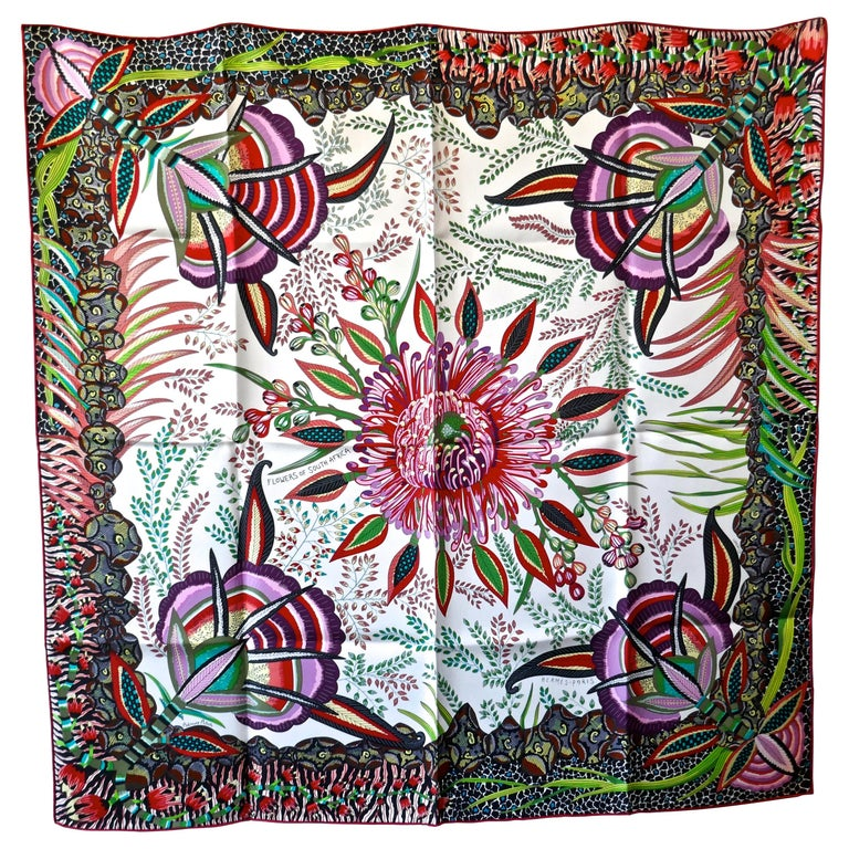 "HERMÈS Ardmore Artists design ""Flowers of South Africa"" 100% Silk Scarf, 2016 For Sale"
