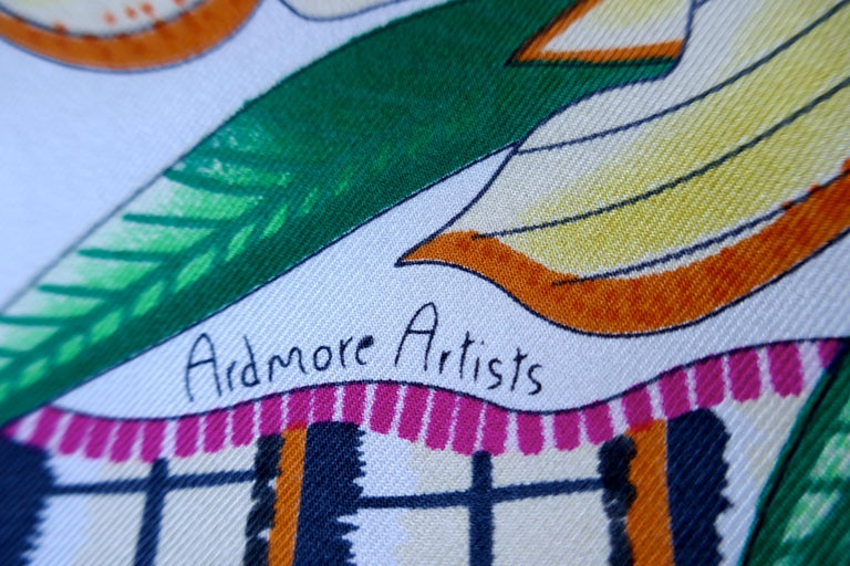 "HERMÈS Ardmore Artists design ""La Marche du Zambeze"" 100% Silk Scarf,  Animals For Sale 7"