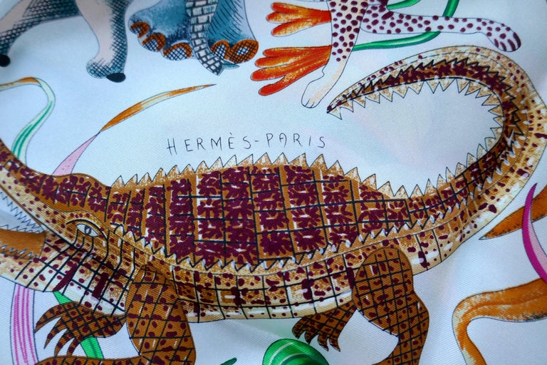 "HERMÈS Ardmore Artists design ""La Marche du Zambeze"" 100% Silk Scarf,  Animals For Sale 8"