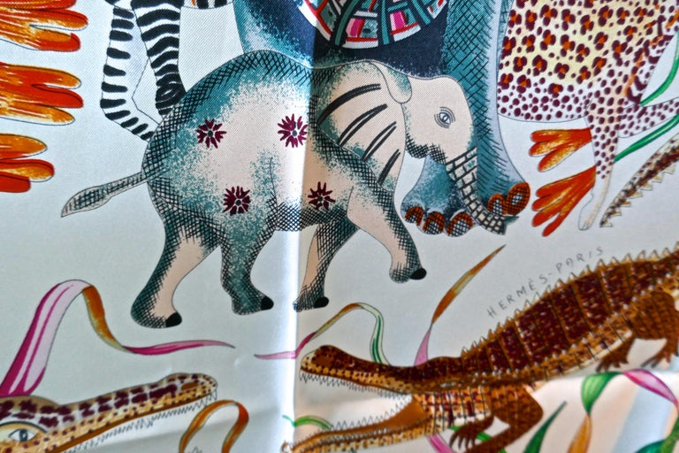 "Gray HERMÈS Ardmore Artists design ""La Marche du Zambeze"" 100% Silk Scarf,  Animals For Sale"