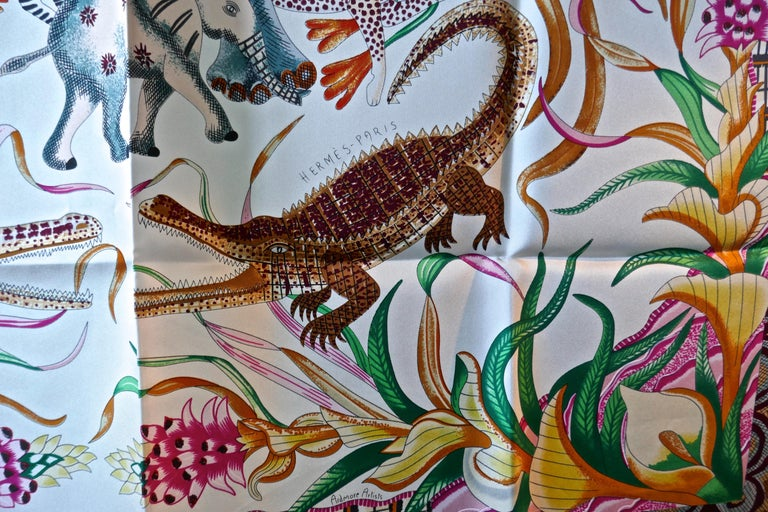 "Women's HERMÈS Ardmore Artists design ""La Marche du Zambeze"" 100% Silk Scarf,  Animals For Sale"