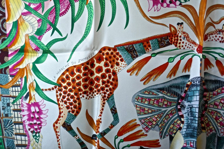 "HERMÈS Ardmore Artists design ""La Marche du Zambeze"" 100% Silk Scarf,  Animals For Sale 1"