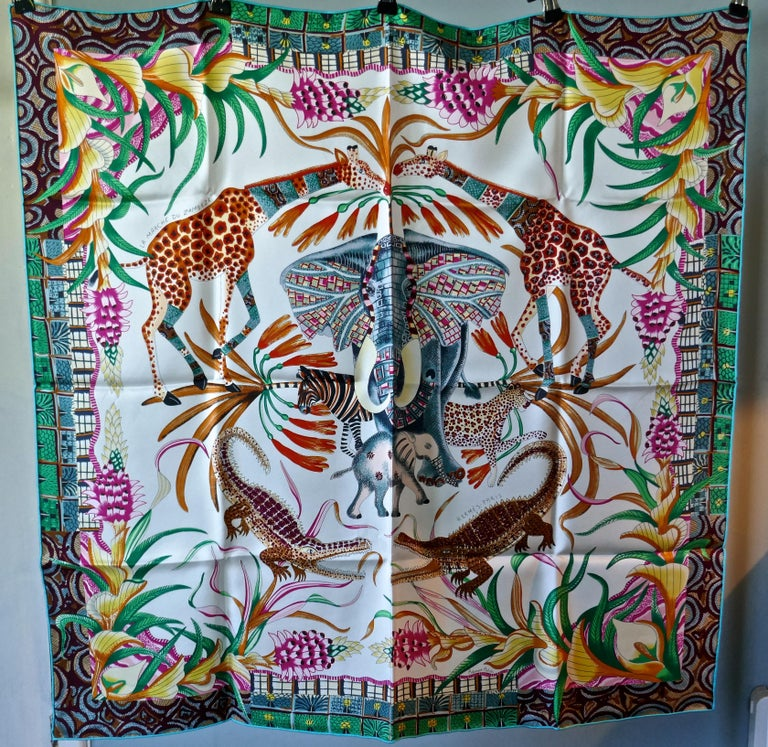 "HERMÈS Ardmore Artists design ""La Marche du Zambeze"" 100% Silk Scarf,  Animals For Sale 3"