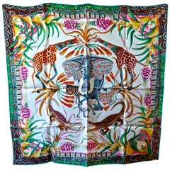 "HERMÈS Ardmore Artists design ""La Marche du Zambeze"" 100% Silk Scarf,  Animals"