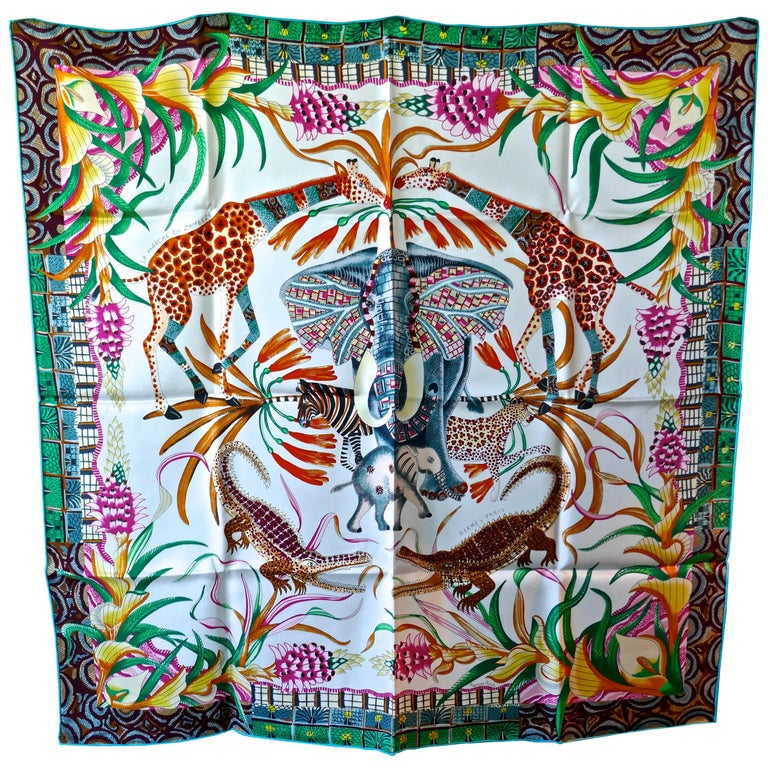 "HERMÈS Ardmore Artists design ""La Marche du Zambeze"" 100% Silk Scarf,  Animals For Sale"