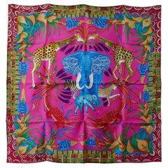 "HERMÈS Ardmore Artists design ""La Marche du Zambeze"" 100% Silk Scarf,"