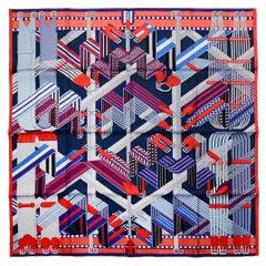 Hermes Ardoise/Rouge/Gris Bleute Sangles en Zigzag by Virginie Jamin Silk Scarf