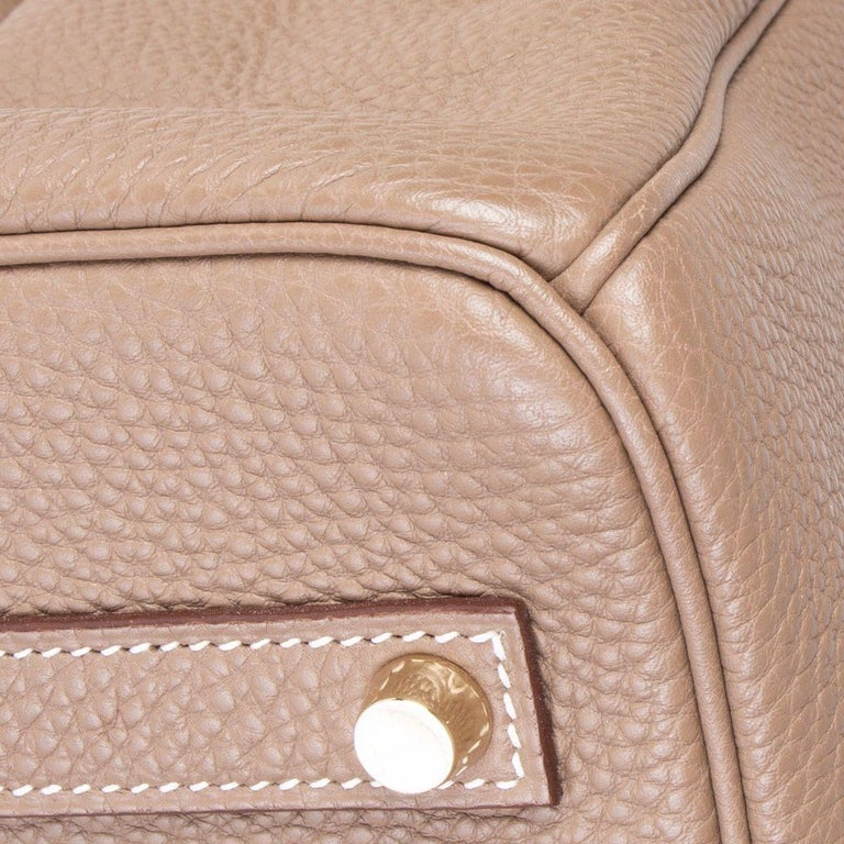 HERMES Argile taupe & Gold leather BIRKIN 35 Tote Bag For Sale 6