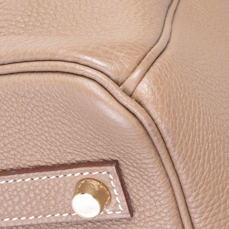 HERMES Argile taupe & Gold leather BIRKIN 35 Tote Bag For Sale 8