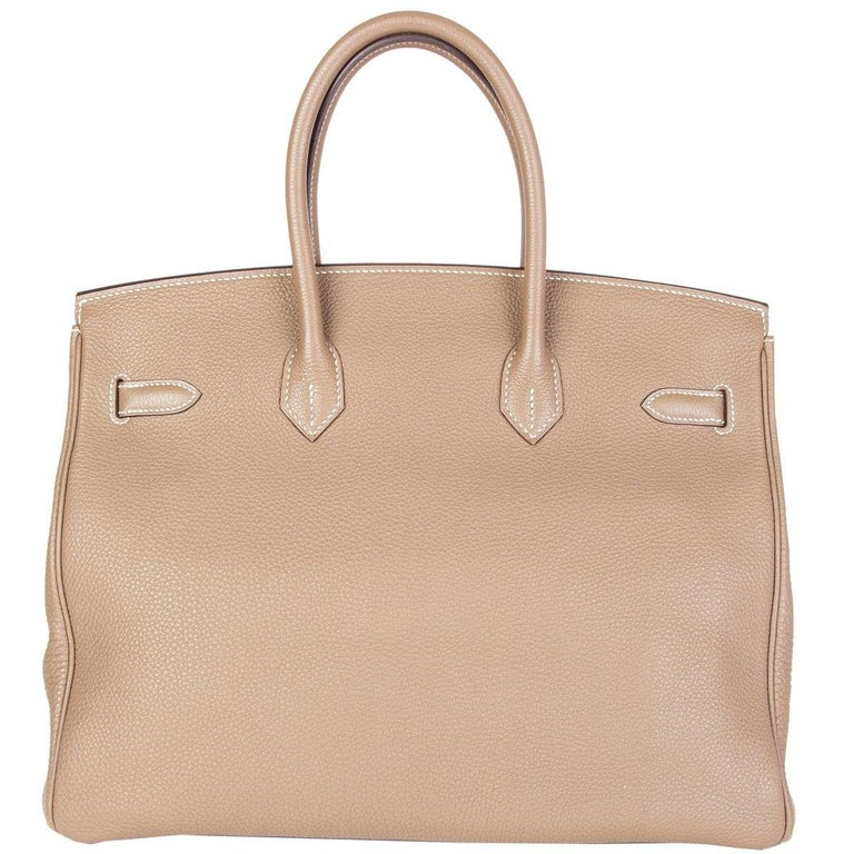 HERMES Argile taupe & Gold leather BIRKIN 35 Tote Bag In Excellent Condition For Sale In Zürich, CH