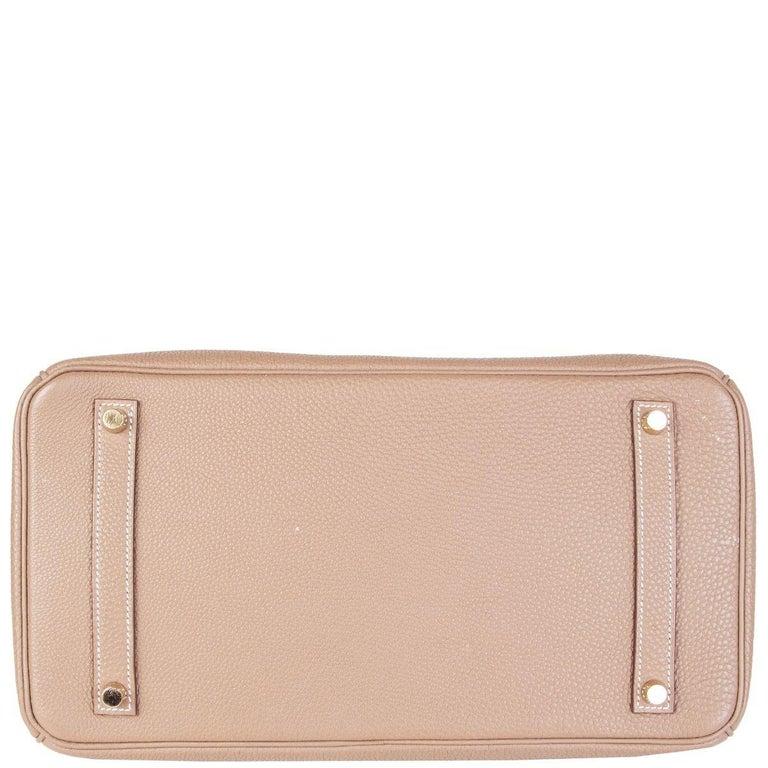 Women's or Men's HERMES Argile taupe & Gold leather BIRKIN 35 Tote Bag For Sale