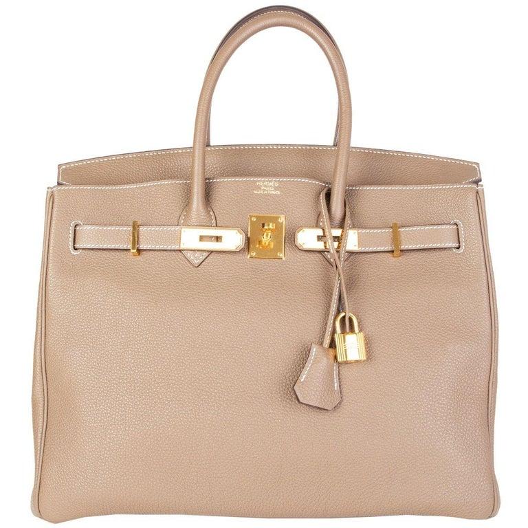 HERMES Argile taupe & Gold leather BIRKIN 35 Tote Bag For Sale 1