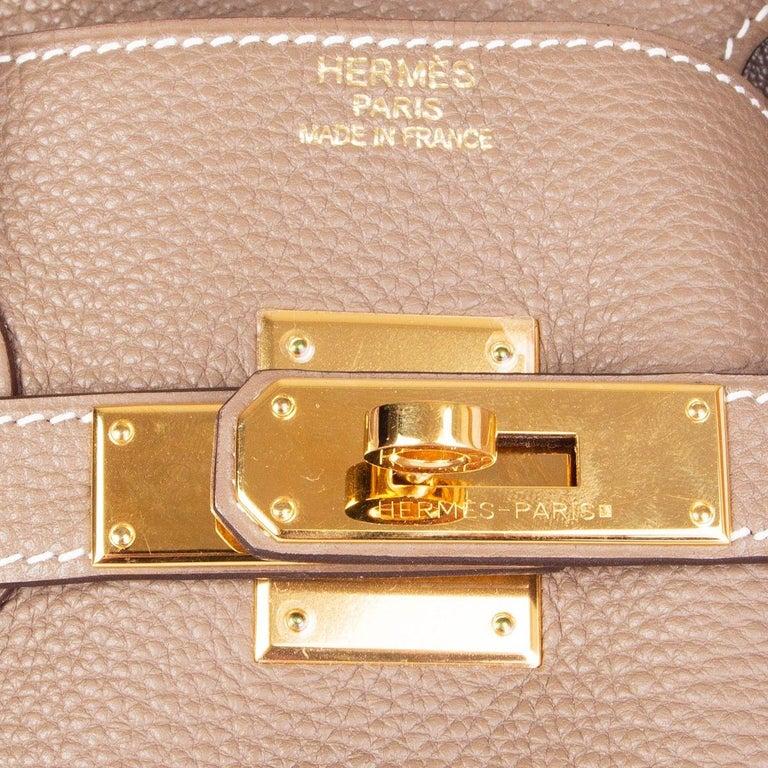 HERMES Argile taupe & Gold leather BIRKIN 35 Tote Bag For Sale 2