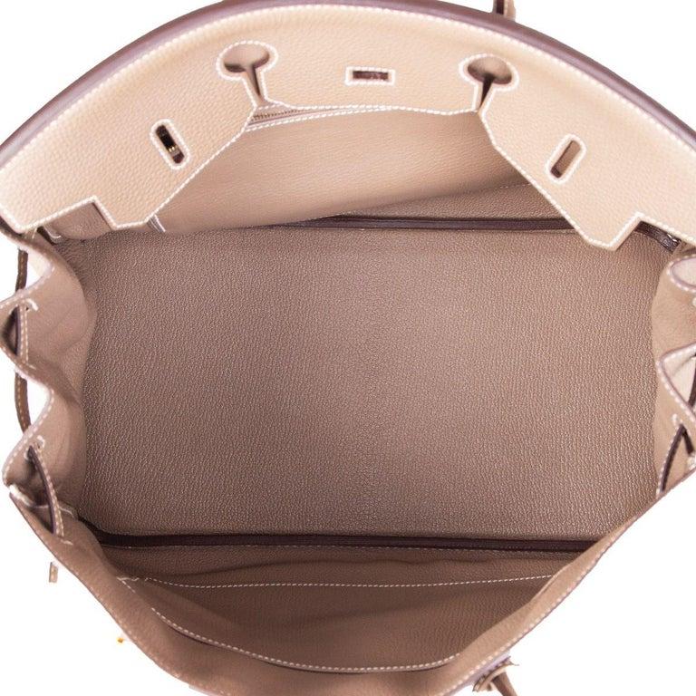 HERMES Argile taupe & Gold leather BIRKIN 35 Tote Bag For Sale 3