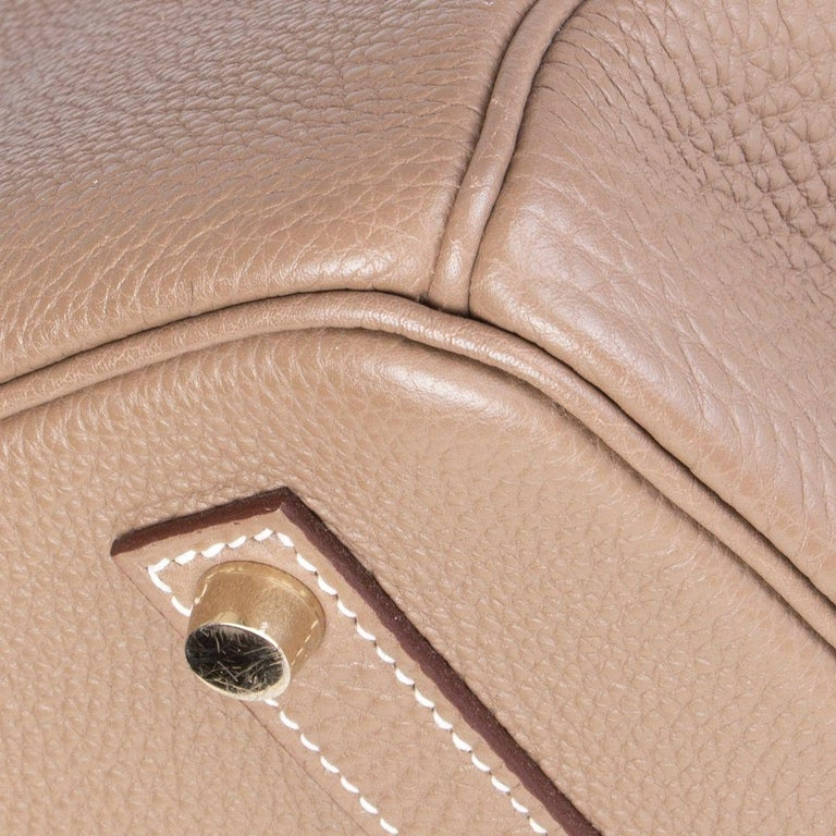 HERMES Argile taupe & Gold leather BIRKIN 35 Tote Bag For Sale 5