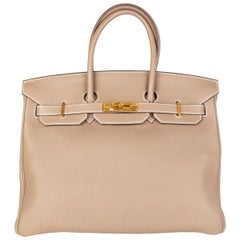 HERMES Etoupe taupe & Gold leather BIRKIN 35 Tote Bag