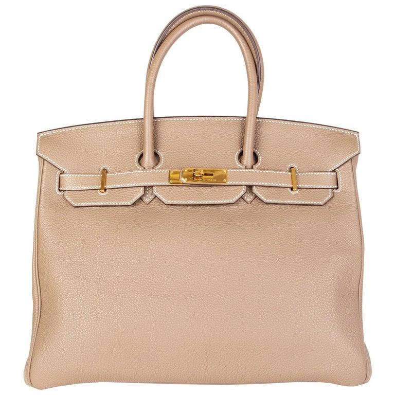 HERMES Argile taupe & Gold leather BIRKIN 35 Tote Bag For Sale