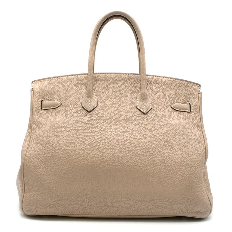 Hermes Argile Taurillion Clemence Leather 35cm Birkin  Age - 2012 [p] Two rolled top handles, Signature twist-lock fastening,  Brown lacquered edges,  Signature palladium plated hardware,  Internal zip and slip pocket   Please note, these items are