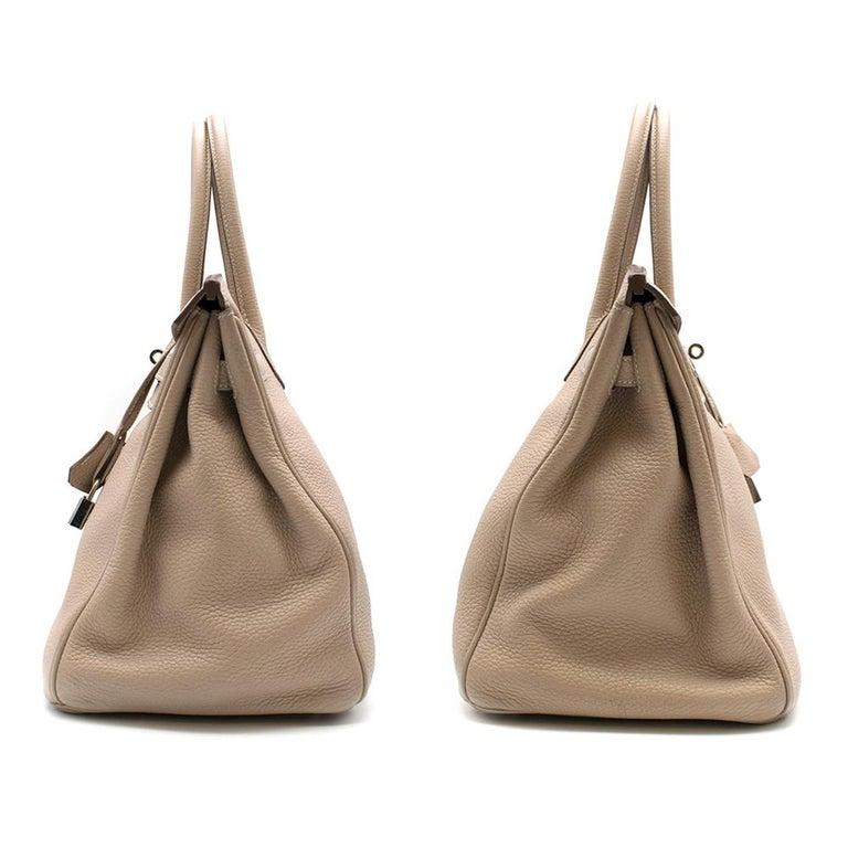 Beige Hermes Argile Taurillion Clemence Leather 35cm Birkin