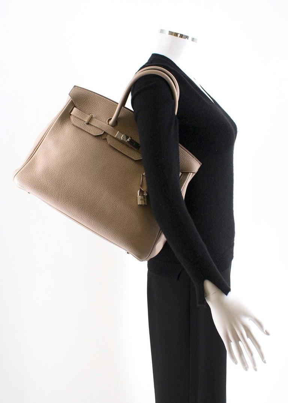 Hermes Argile Taurillion Clemence Leather 35cm Birkin In Good Condition In London, GB