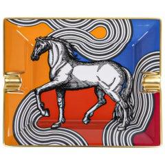 Hermes Ashtray Cheval Cosmique Limoges Porcelain Casaque New w/Box